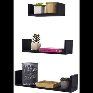 Black Wood Floating Shelves set of 3 Brand New